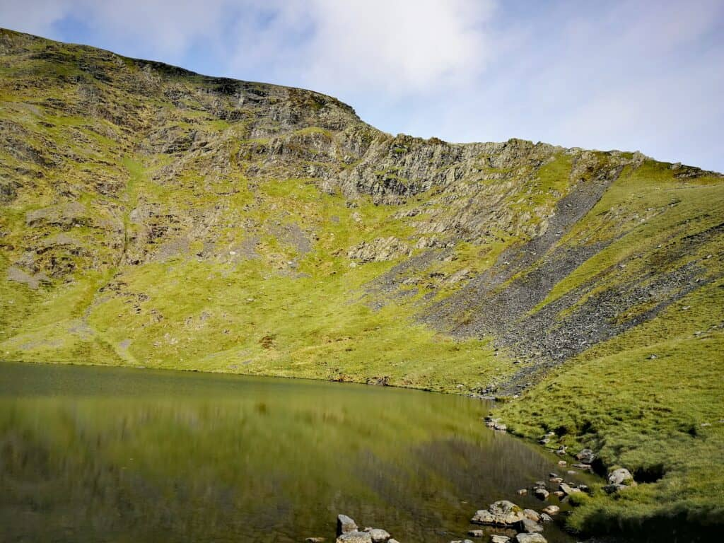 Scales Tarn looking up at Sharp Edge on the alternative path to Blencathra