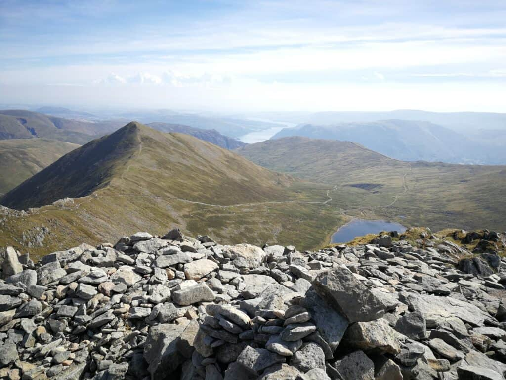 Swirral Edge, Red Tarn and Ullswater in the background from Helvellyn summit
