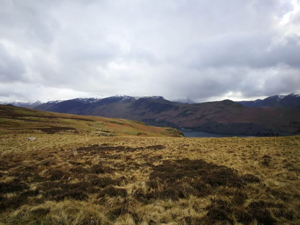 Taking the path towards Bleaberry Fell, looking back towards Derwent Water. Maiden Moor in the background