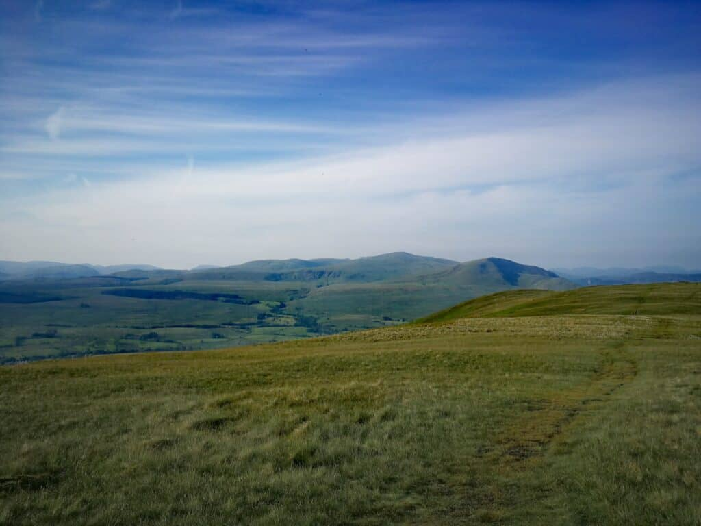 The grassy path on top of Souther Fell in the Lake District