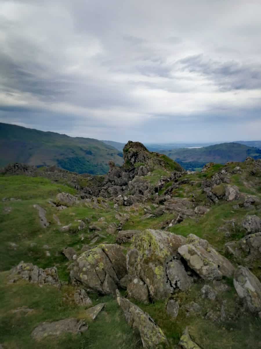 The lion and the lamb on Helm Crag near Grasmere in the Lake District, one of the 214 Wainerights in alphabetical order