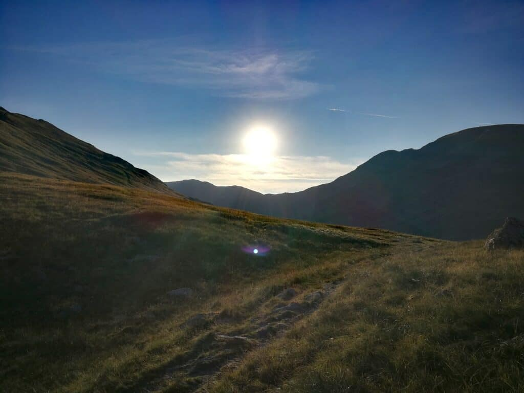 The morning sun in the Lake District on our way to the first Wainwright of the day, Seat Sandal