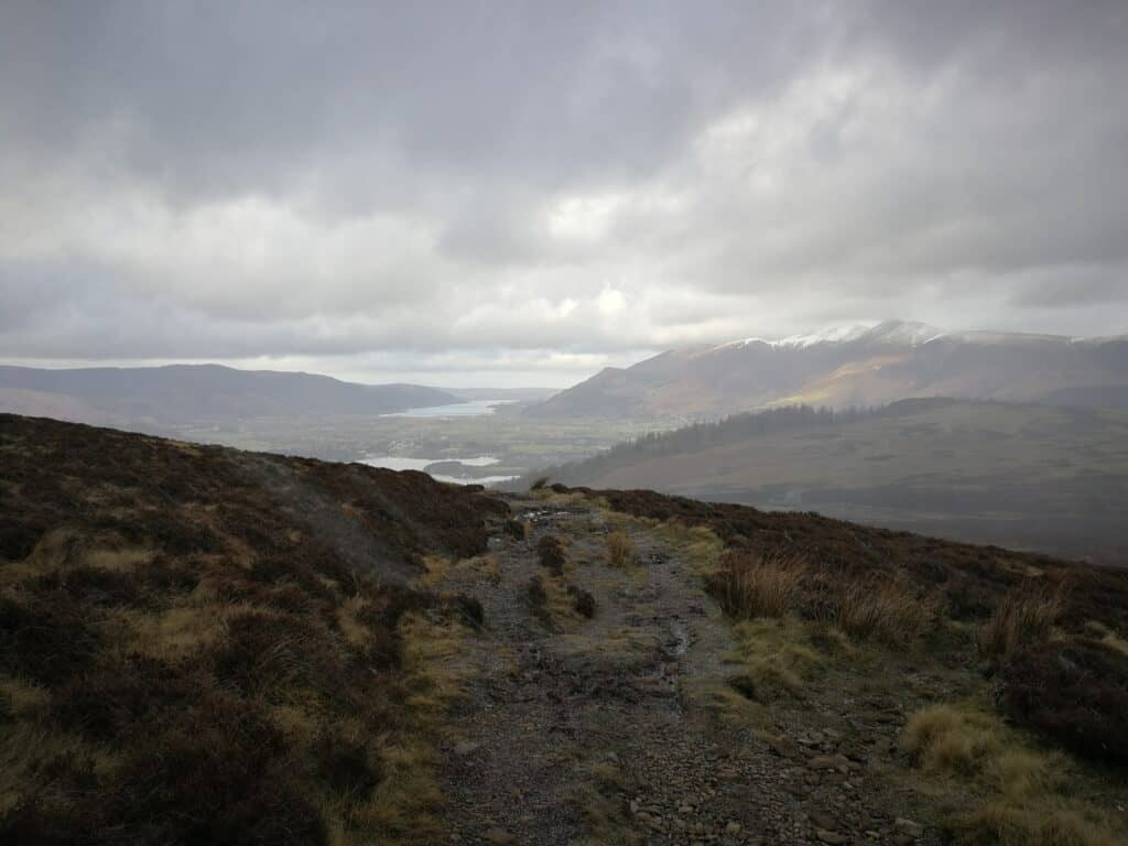 The path up to Bleaberry Fell, looking back out over Derwent Water and Bassenthwaite Lake