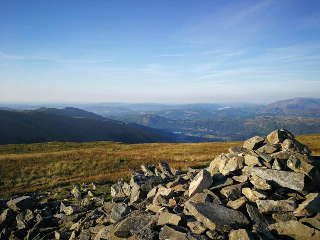 The summit of Seat Sandal first thing in the morning. Our first Wainwright of the day on this Helvellyn walk