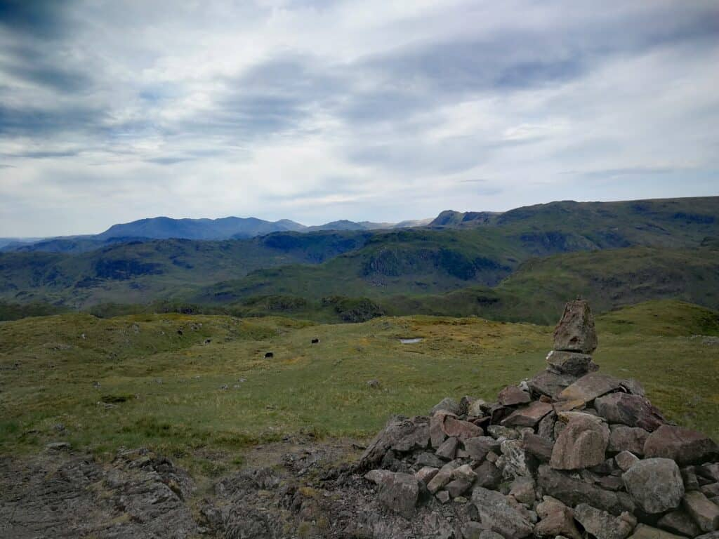 The top of Steel Fell in the Lake District, the first Wainwright of the day