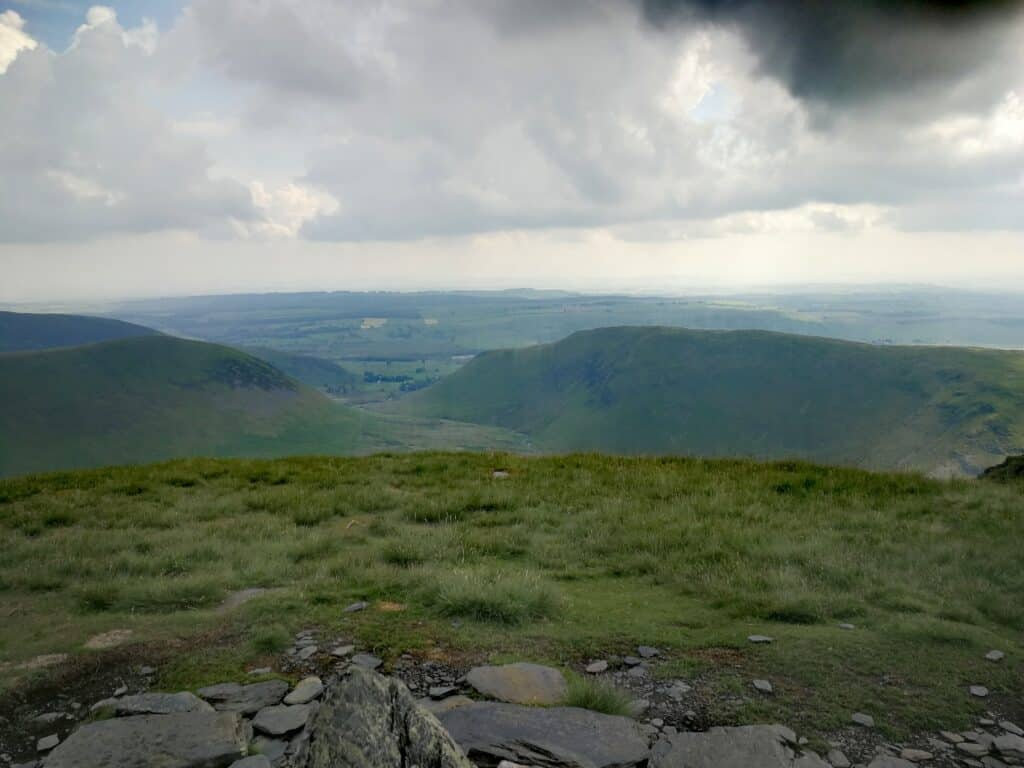 The views from the summit of Bannerdale Crags in the northern region of the Lake District