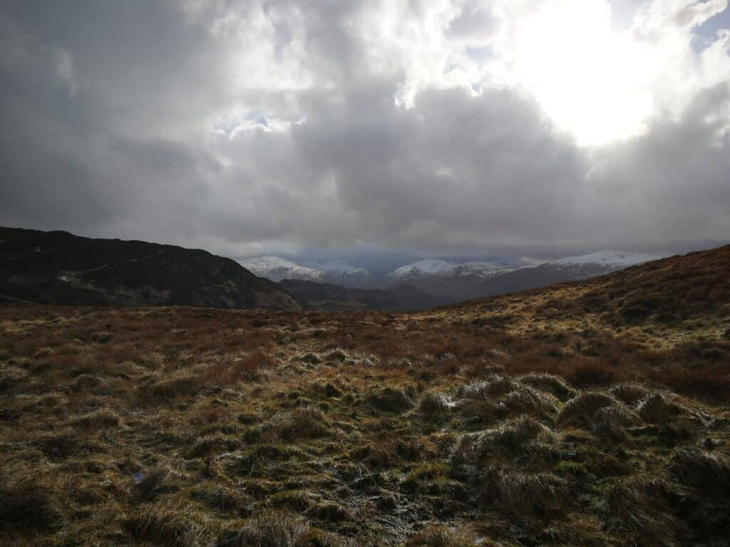 The views heading up to the Wainwright. Snow now moving onwards towards the north