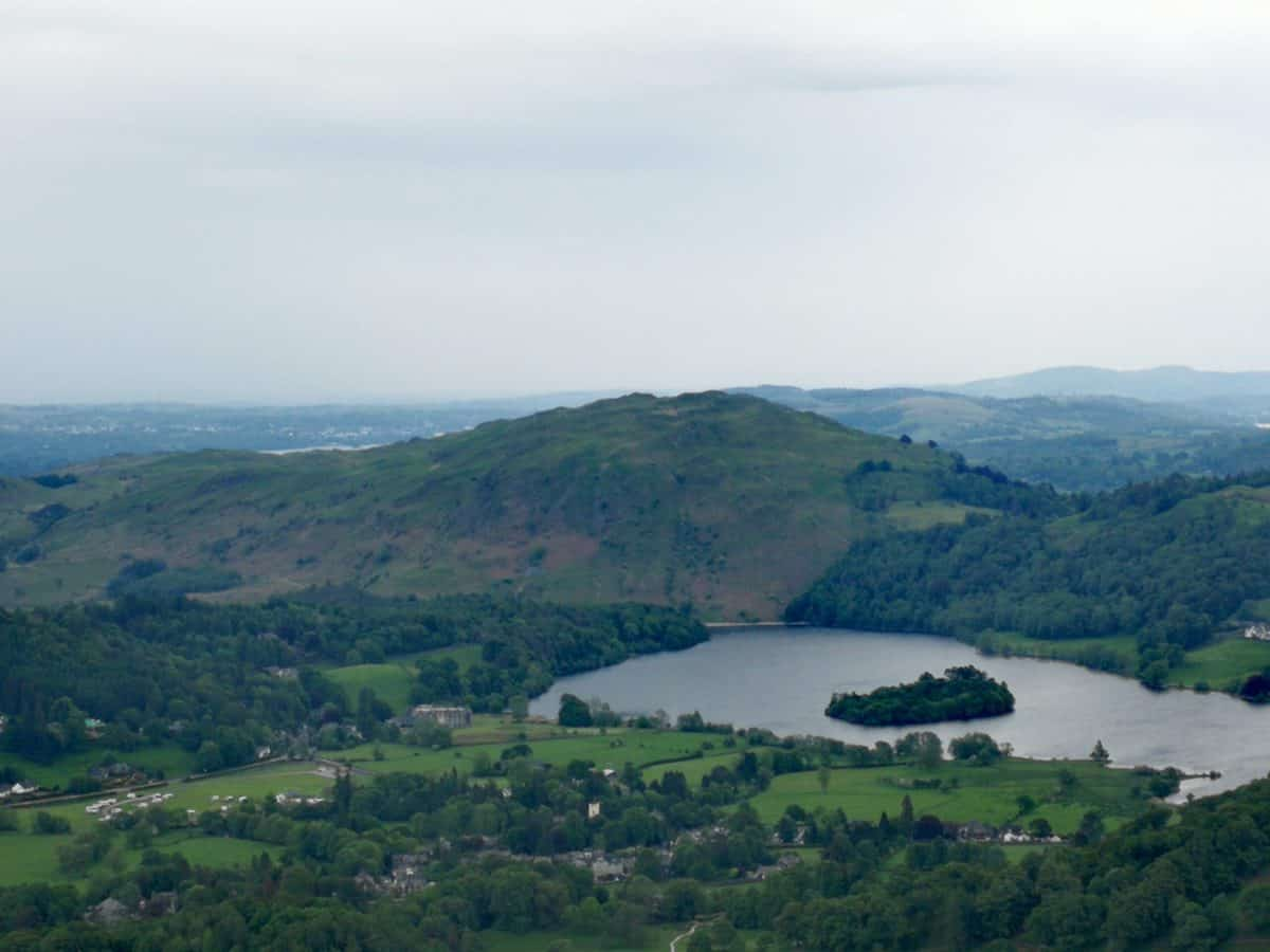 Views looking down towards Grasmere from the top of Helm Crag
