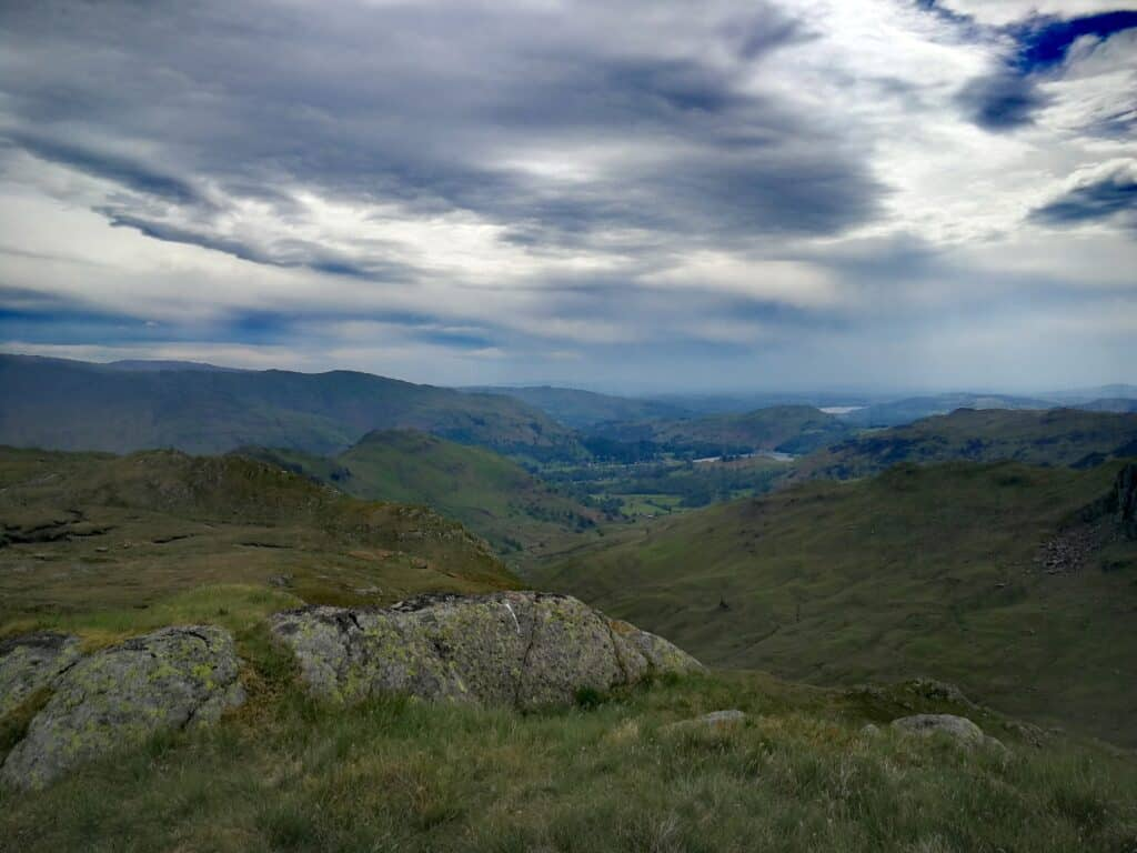 Views from summit of Calf Crag, again with Grasmere and Windermere in the background. Also Helm Crag