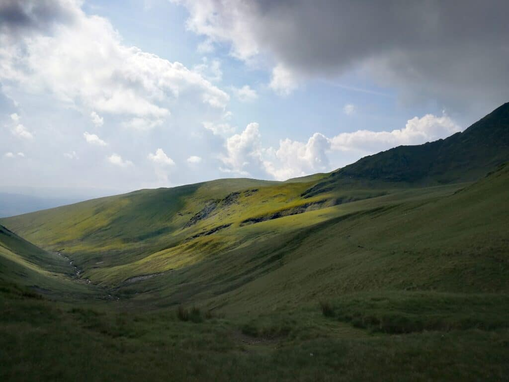 Views of the valley heading towards Bannerdale Crags in the Lake District, Cumbria