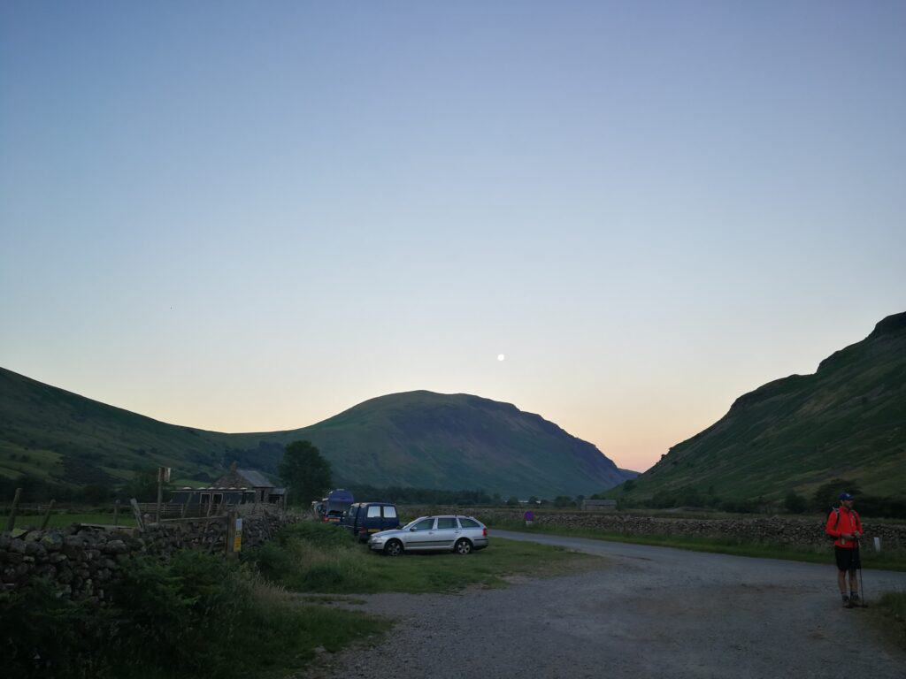 Wasdale Head parking, the start of our walk to Scafell Pike with the moon still out
